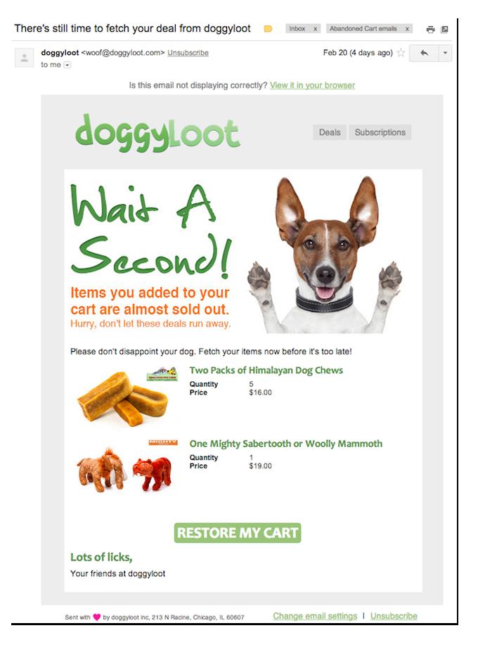 Doggyloot创建了一些非常明显的,俏皮和有趣的购物车提醒。 完成购买看起来也很容易。