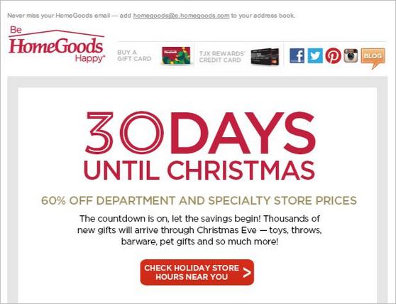 J. Crew Factory的圣诞简报中的额外减30%以及免费送货内容。收件人被通知,离12月24日收货前还剩3天