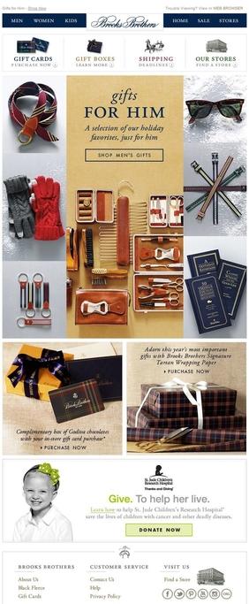"Brooks Brothers的圣诞简报中的""送给他的""节日礼物建议"