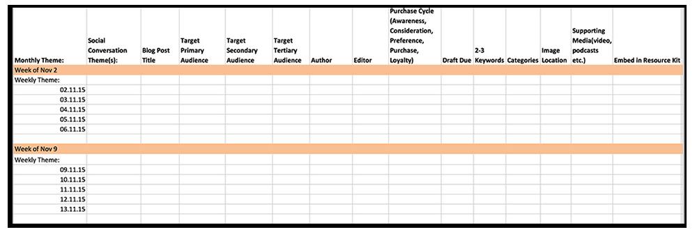 日历建议填写几个重要类别,例如目标受众,购买周期的阶段和关键字