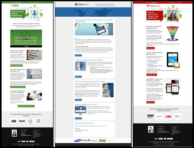 Liana Technologies将不同的模板用于不同的目标群体
